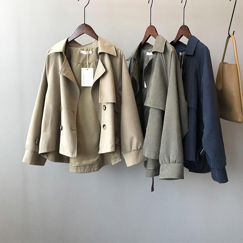 Gabardina corta Vintage para mujer, chaqueta holgada elegante coreana, Abrigo para mujer,...