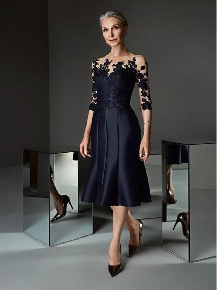 black zip design square neck 3 4 length sleeves dresses Black Mother Of The Bride Dresses A-line 3/4 Sleeves Tea Length Appliques Plus Size Short Groom Mother Dresses For Weddings