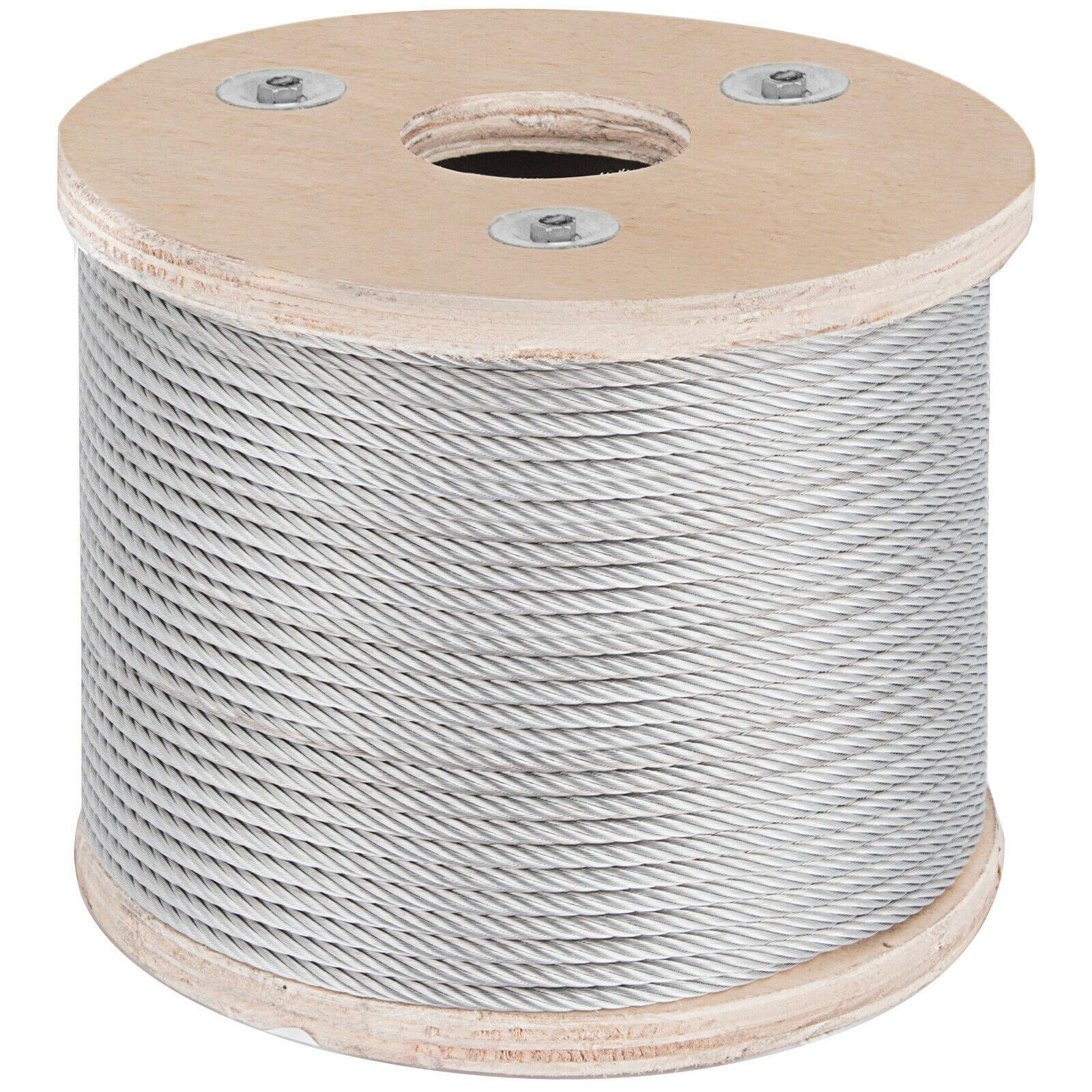 VEVOR 304 Cable de acero inoxidable 3/16 pulgadas 7X19 Cable de acero para barandilla DIY balaustrada