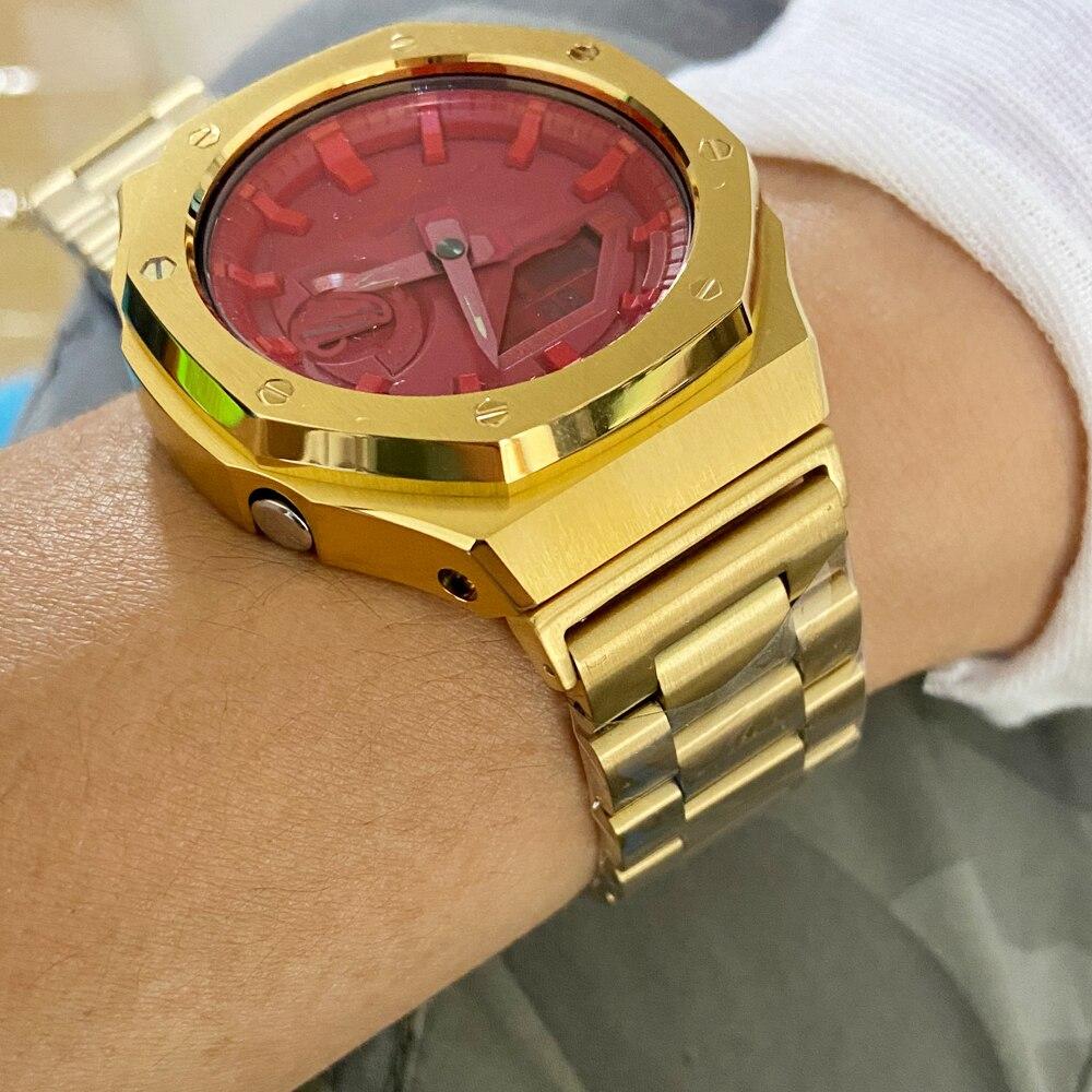 Correia de Relógio Adaptador de Metal Bisel de Aço Pulseira para Relógio de Parede Inoxidável Dourado Preto Rosa Ga2100 2rd – 2110