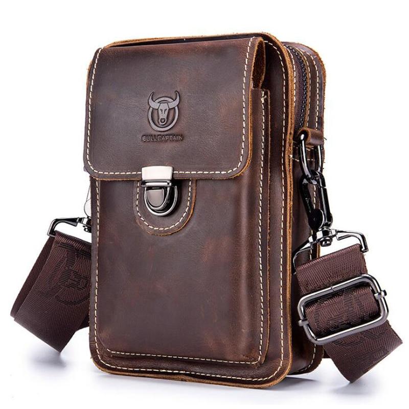 BULLCAPTAIN Crazy horse leather Male Waist Packs Phone Pouch Bags Waist Bag Men's Small chest Shoulder Belt Bag small back pack