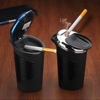car ashtray led light alloy ash tray aluminum cup portable smokeless auto ashtray flame retardant cigarette holder box 35