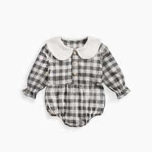 ATUENDO Spring Fashion Plaid Newborn Baby Rompers 100% Cotton Kawaii Satin Girl's Clothes Autumn War