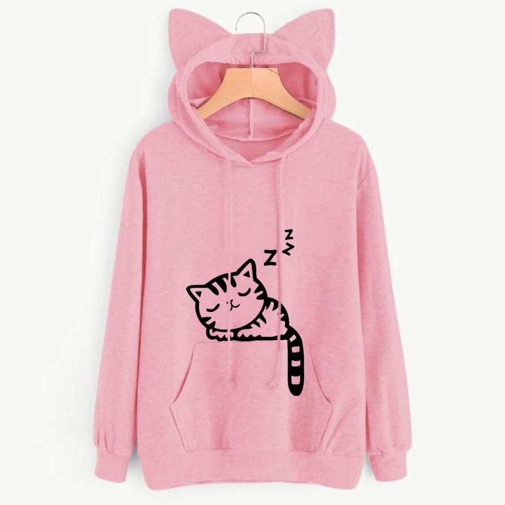 Women Sweatshirt Casual Hoodies Print Cat Ear Hooded Long Roll Up Sleeve Pocket Top Blouse Feminine Oversize Sweatshirts Black