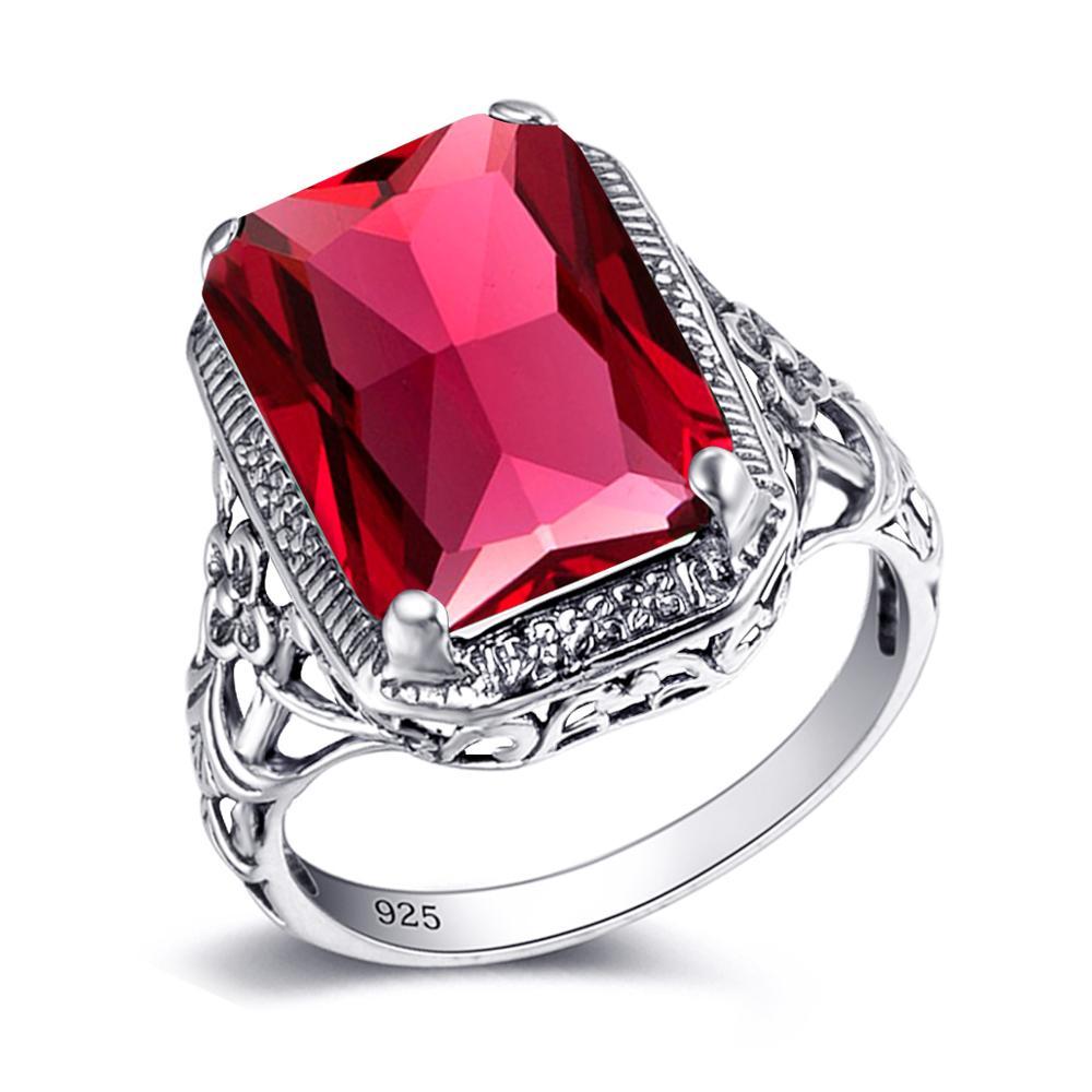 Rubi vermelho anéis de pedra preciosa para as mulheres retângulo 925 prata esterlina anel de noivado do casamento presente original vintage artesanal jóias