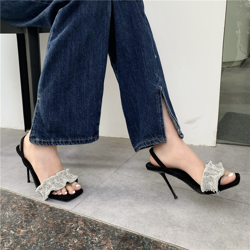 2021 Summer Women's Sandals Flock Concise Hollow Out Thin Heels High Heel Sandals Crystal Shoes Woman Pumps Sandalias Mujer