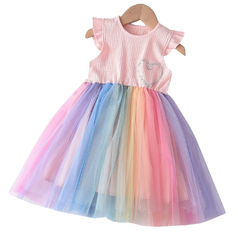 Baby Girls Rainbow Colorful Dress 2020 New Summer Fashion Fly Sleeve Girls Dress Party Kids Mesh Dre