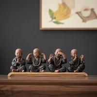 chinese style purple sand tea four little monk ornaments home decoration tea play tea ceremony ceramic tea accessories