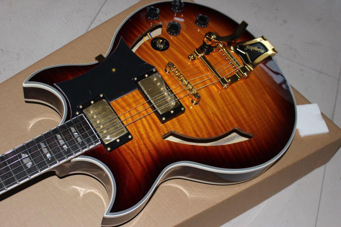 Custom shop,hollow body jazz electric guitar.Sunburst color tiger flame top gitaar. 6 stings guitarra,Rosewood fingerboard enlarge