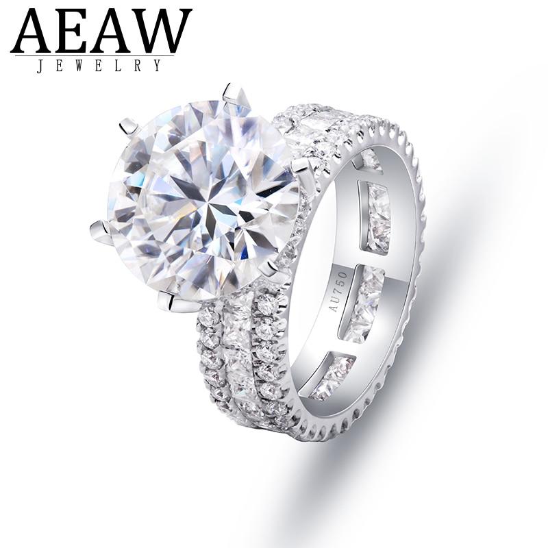 Lujoso anillo de compromiso de diamante Moissanite Briliant redondo de 11mm de 5,0 quilates, oro blanco de 18K auténtico
