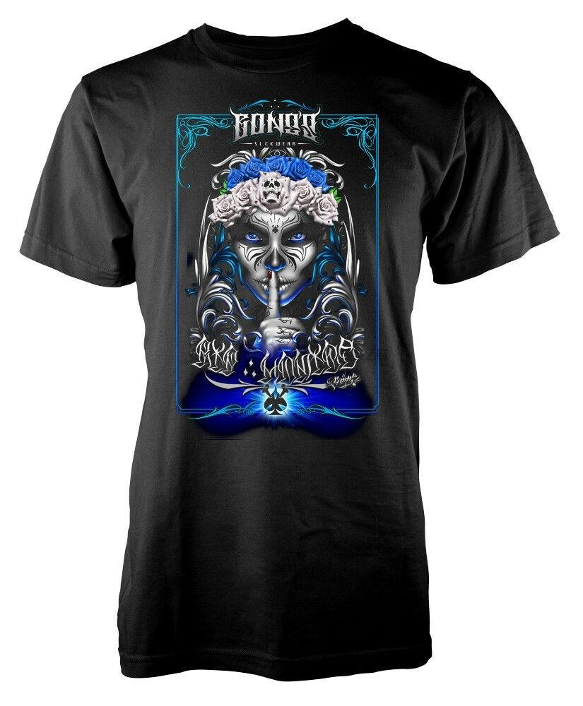 Catrina Sugar Skull Roses Tattoo Style Adult T-Shirt