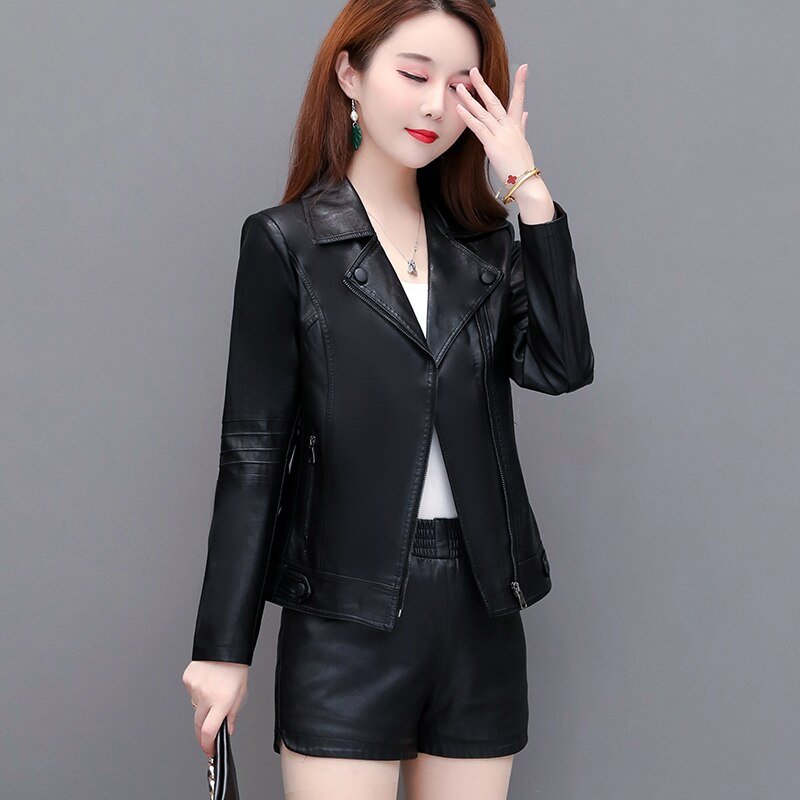 Leather Jacket Women's 2020 Autumn And Winter New Black Classic Slim Short Regular  Motorcycle Handsome Trend Zipper Artificial enlarge