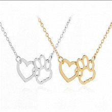 2 Styles Necklace Dog Paw Heart Pendant  with European and American Alloy Short Accessory Jewellery