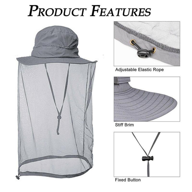 Gorra de pesca para hombre, visera ancha, visera para caza, abeja, para mantener la red, sombrero, insectos, prevención de mosquitos, protector de cabeza para el cuello, antimosquito