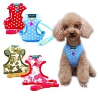 dog harness adjustable soft breathable dog harness nylon mesh vest harness traction rope set puppy dogs cat chest strap supplies