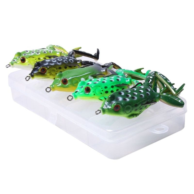 5pcs Frog Lure Ray Frog Topwater Fishing Crankbait Lures Artificial Soft Bait 5.5cm 15g