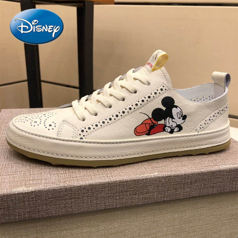Disney Men's Leather Breathable Sneakers Student Shoes Trend Mickey Mouse Men's Shoes New Mickey White Shoes