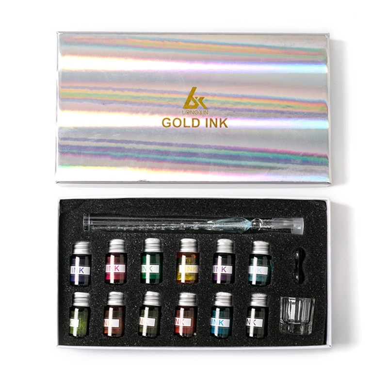 W3JD Crystal Starry Sky Glass Ink Pen Glass Dip Pen For Writing Fountain Pen Set Gift
