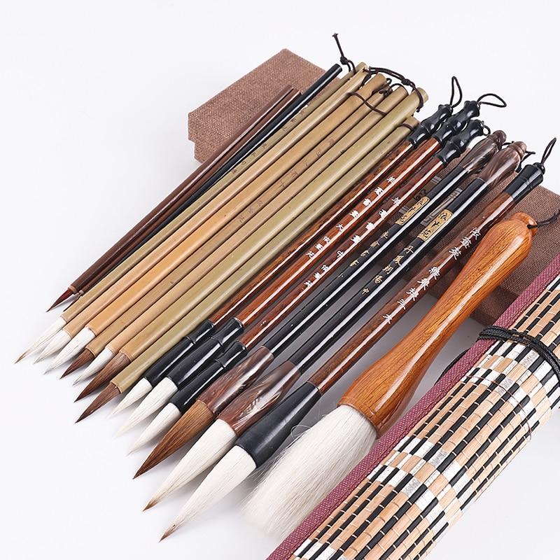 18 unids/set chino pintura cepillo Conjunto Chino caligrafía cepillo pluma pincel para pintura arte inmóvil de pincel para pintar con acuarelas
