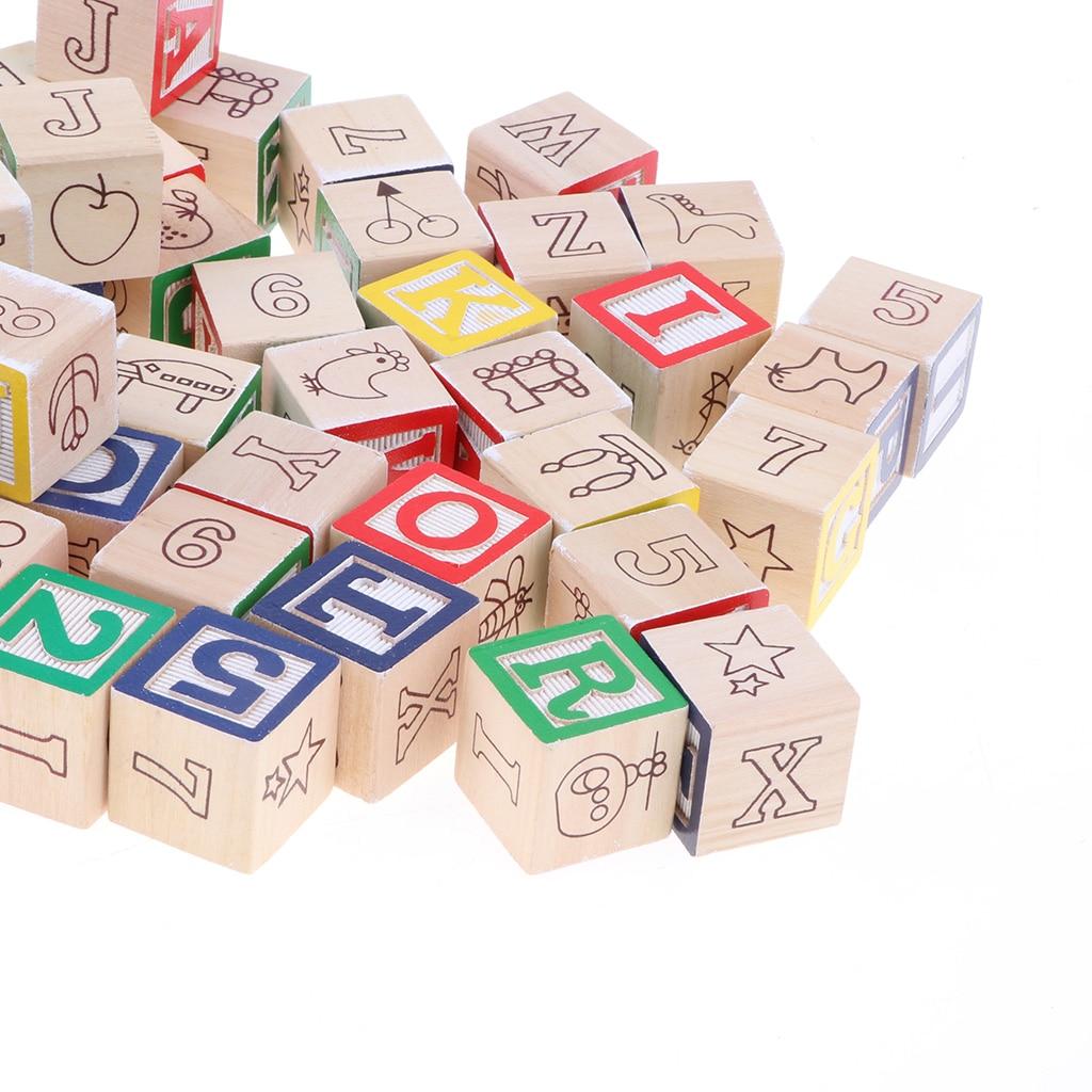 50 bloques de madera ABC para apilar los números del alfabeto, juguetes educativos para niños para Aprendizaje Temprano