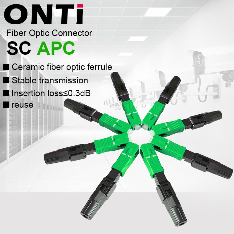 ONTi 50-400pcs SC APC Fiber Optic Fast Connector Single Mode Fiber Optic Adapter FTTH Fiber Quick Connector Field Assembly