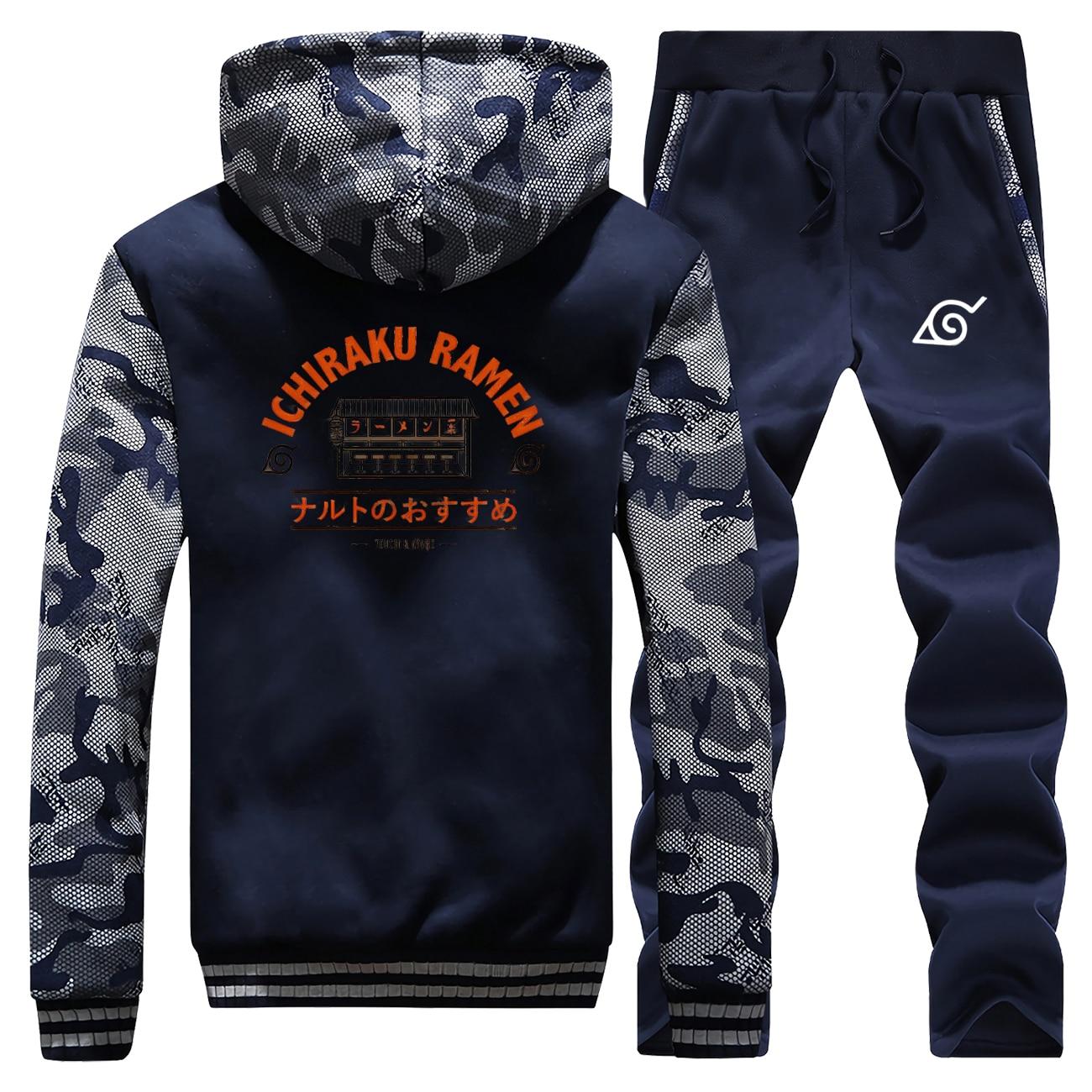 Anime Naruto Ichiraku Ramen imprimir hombres sudadera Hip Hop hombres chándal chaqueta de invierno + Pantalones de 2 piezas establece hombre Japón sudaderas gruesas