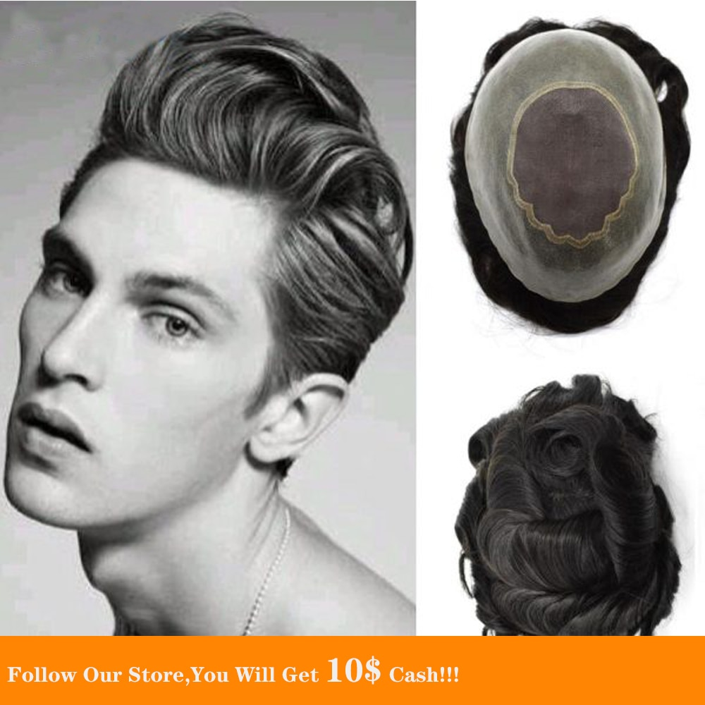 BYMC Black Fine Mono dian Human Hair Toupee Natural Density Hair Quality Popular Durable Skin Base Hair Unit For Men 6 inch Wig