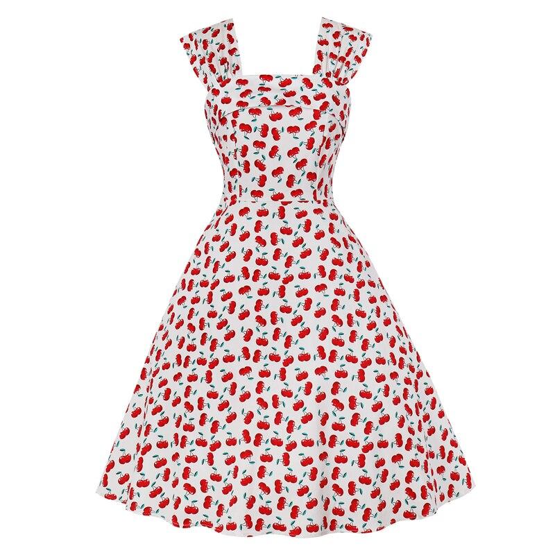 Vestido de verano Vintage de flores, cuello cuadrado
