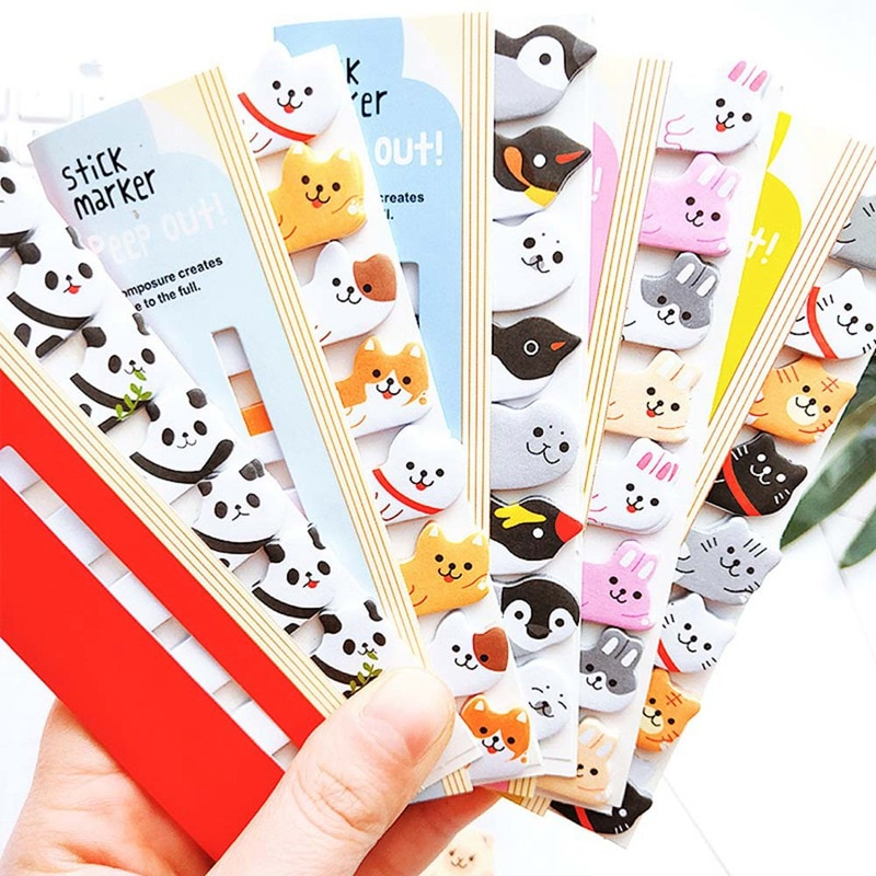 Kawaii Memo Pad Bookmarks Creative Cute Cat Panda Sticky Notes Index Planner Stationery School Supplies creative black white cat and little carton shape sticky notes