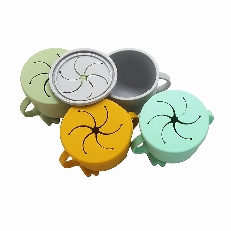 Chenkai 10PCS 8 Color Baby Feeding Snack Baby Cups Food Grade Silicone Drop-Proof Infant Learning Drink Cup Two Handle Grasping