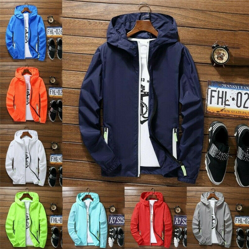 Men Waterproof Wind Breaker Coat Zipper Hoodie Jacket Quick Drying Sport Outwear XRQ88
