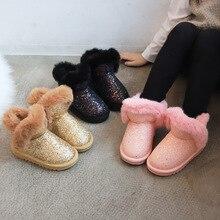 Dziewczęce śniegowce zimowe ciepłe płaskie okrągłe Toe dziecięce buty dziecięce dziecięce różowe czarne złote miękkie buty rozmiar 27-37