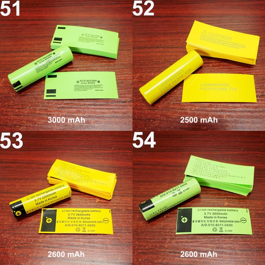 Купить с кэшбэком 100pcs/lot Lithium battery package outer skin 18650 battery PVC heat shrinkable sleeve package shrinkage insulation film