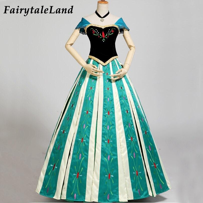 Snow Grow Anna Coronation disfraz de Halloween para adultos mujeres elegante vestido de princesa Cosplay bordado flores fiesta vestido de cumpleaños regalo