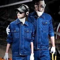 cotton denim mens coat jeans pants 2pcs set workwear electric welding autumn winter thick jacket trousers anti scalding blue l4
