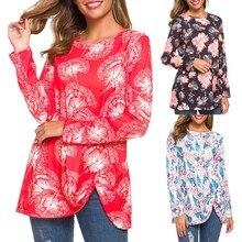Tshirt Women Autumn O Neck Long Sleeve Flower Bud Print Kink Casual Tops Haut Harajuku Camiseta Mujer Top Women T Shirt Camisas