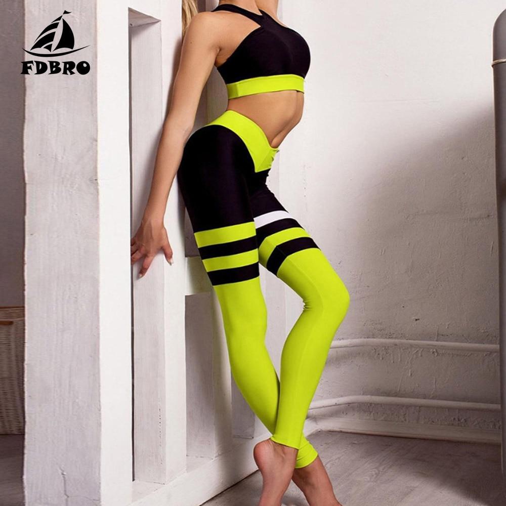 FDBRO Yoga Set mujeres chándal Patchwork Running Fitness Jogging camiseta Leggings deporte traje gimnasio ropa deportiva ropa de entrenamiento S-L