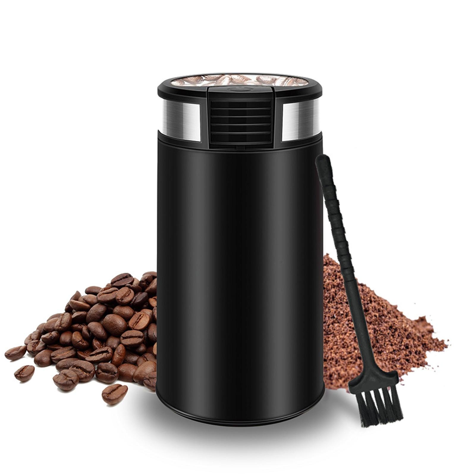 مطحنة بن كهربائية مع فرشاة تنظيف شفرة فولاذية غير قابلة للصدأ مطحنة الحبوب للمكسرات القهوة لوازم المطبخ المنزلية