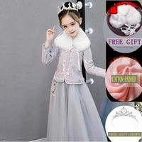 2019 princess dress china style backless girls teenage cheongsam lace girl dress chi pao tang suit