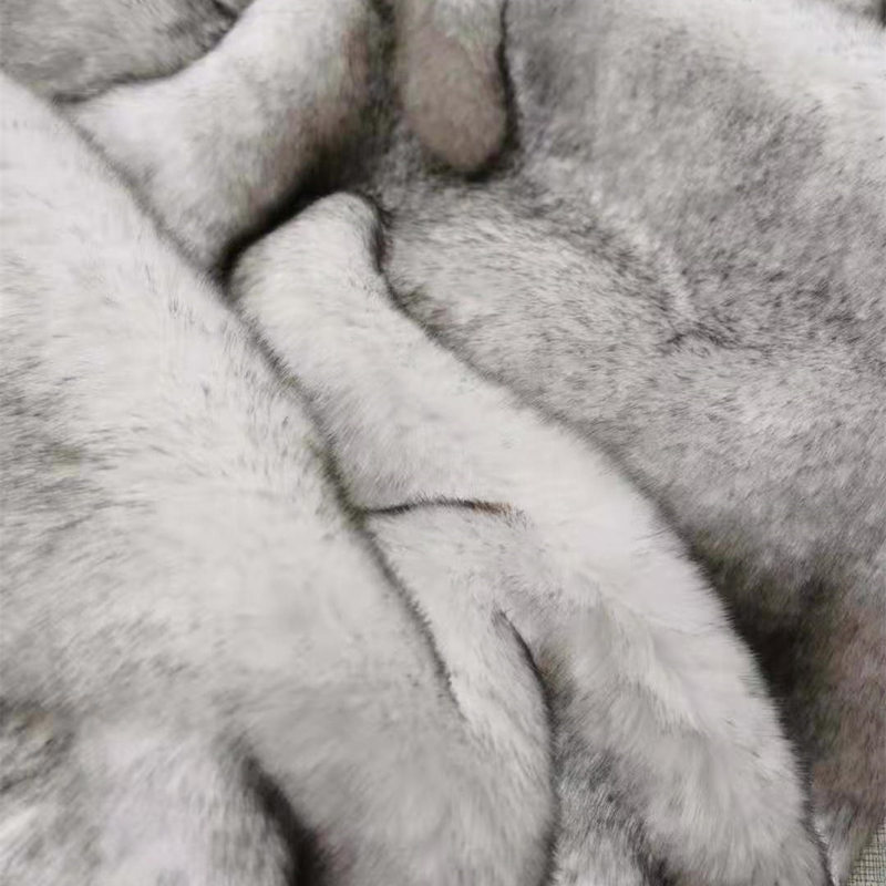 بطانية فو الفراء رمي للأريكة أريكة سرير أبيض مع نصائح سوداء