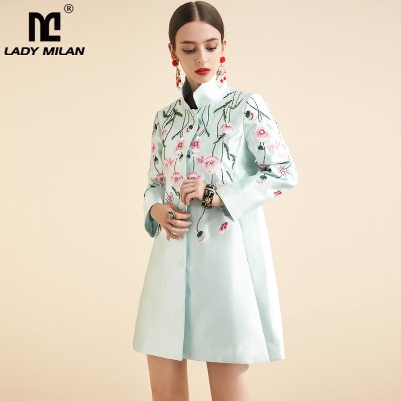Senhora Milan Runway das Mulheres do Outono Trench Coats Gola Mangas Compridas Embriidery Moda Casual Floral Casacos Casacos