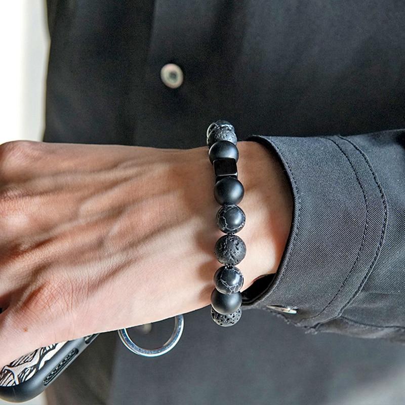 gunmetal color charm bracelet pave rhinstone bracelet amazonite beads bracelet for women natural stone for women men bracelet Natural volcano stone 10mm beads lucky Bracelet handmade men charm Couple bracelets women Drop Shipping