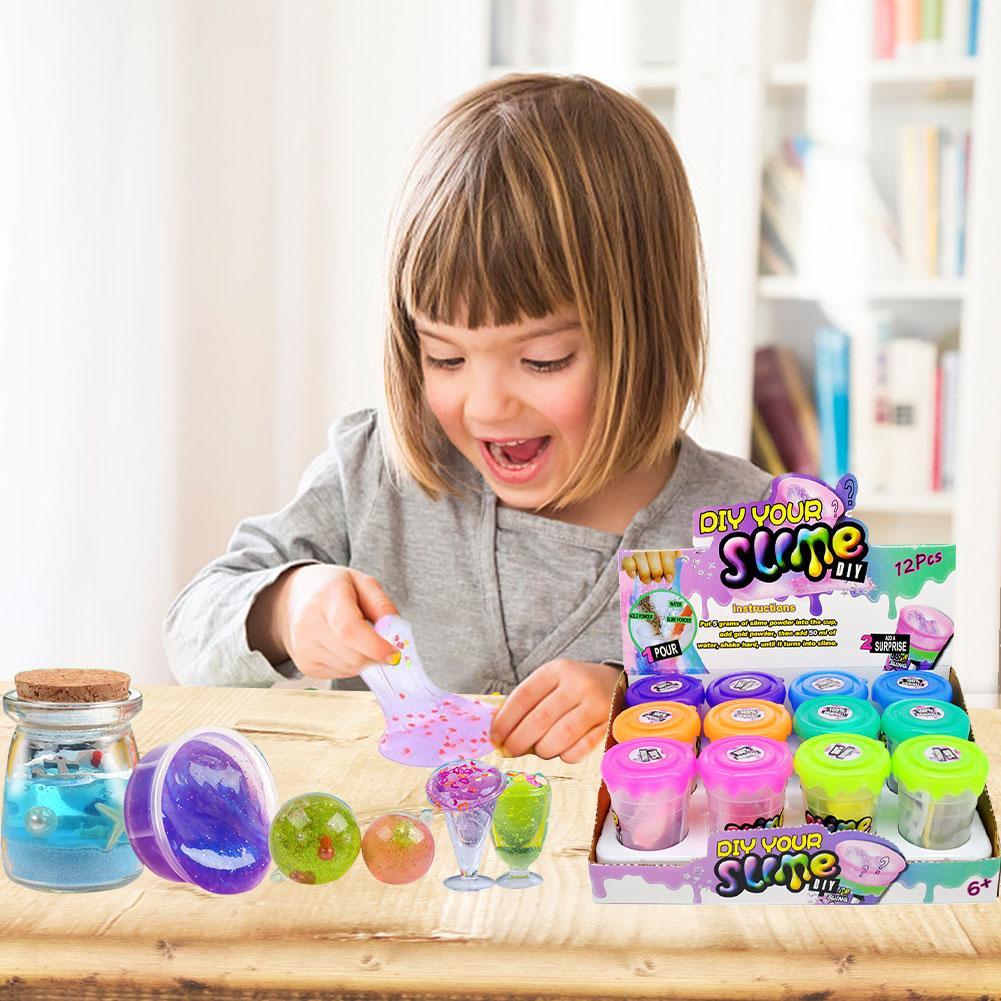Slime DIY enlatado Set Slime Shakers polvo Mecedor rompecabezas juguete para niños Slime Shake polvo barro de cristal en Stock