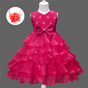 Cute Toddler Girl Clothes Lace Princess Birthday Party Pretty Dresses for Children Formal Flower Hot Pink Wedding Dress