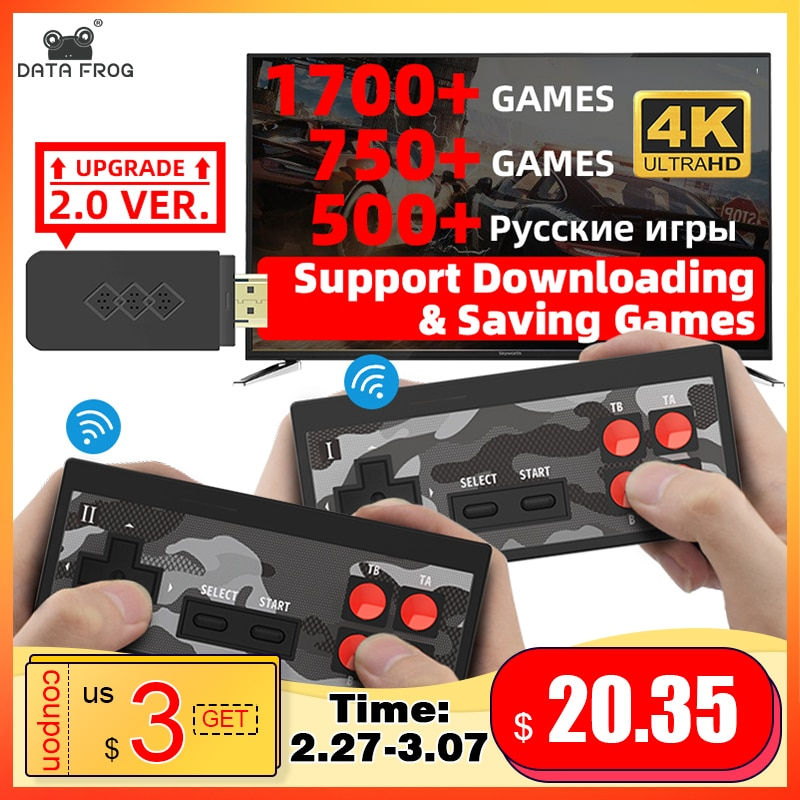 Data Frog USB Wireless Handheld TV Video Game Console Build In 1700 Classic Game 4K 8 Bit Mini Video