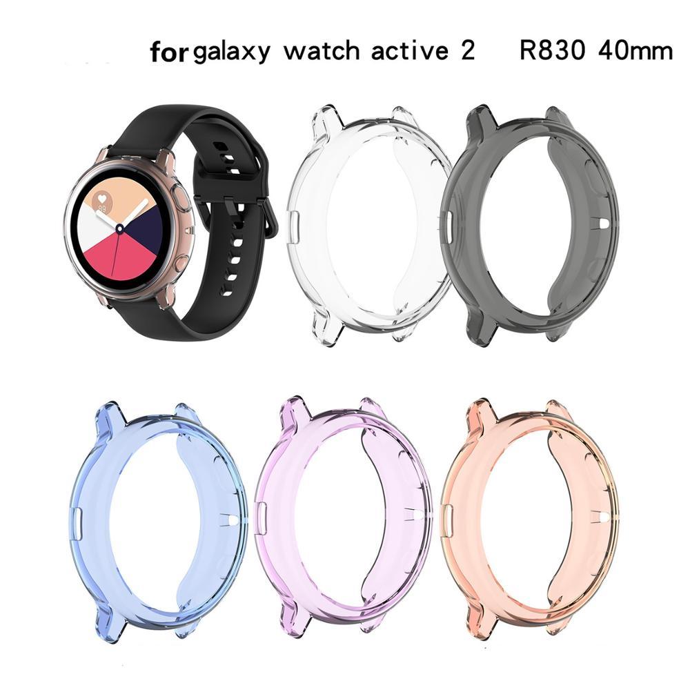 Capa tpu protetora para relógio samsung, galaxy watch active 2 40mm/44mm r830 r820, relógio inteligente de borracha macia capa com estojo
