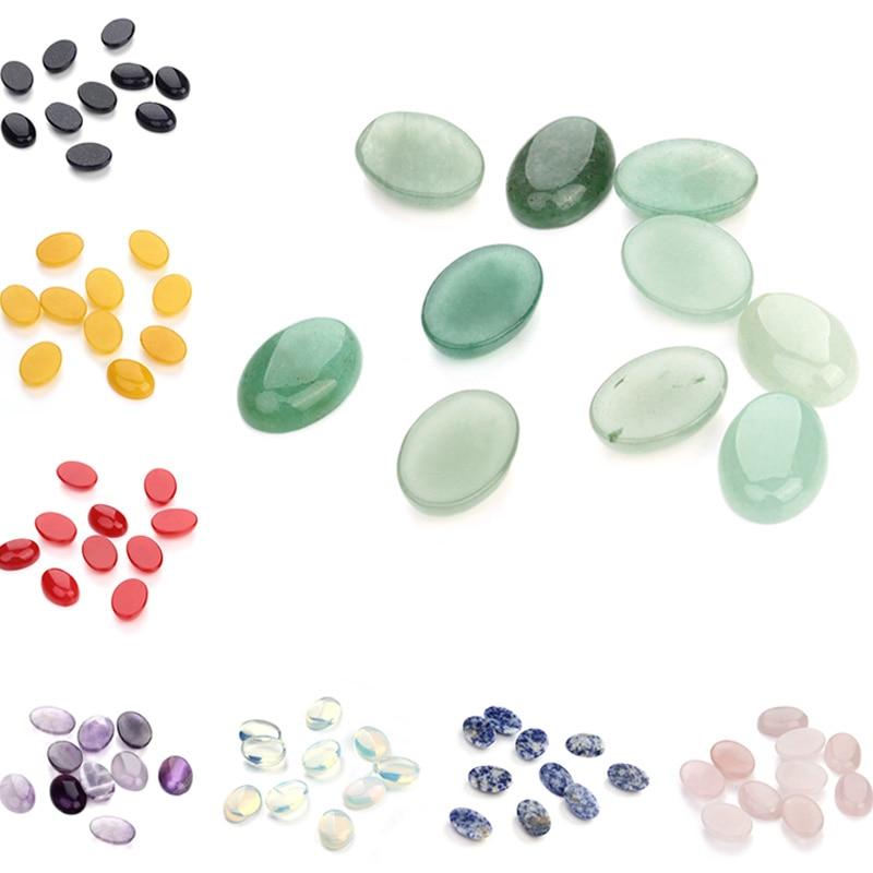 10pcs/lot Natural Bulk Stone Beads 10x14 13x18 18x25mm Flat Back Oval Onyx Cabochons Bead for DIY Jewelry Making Wholesale