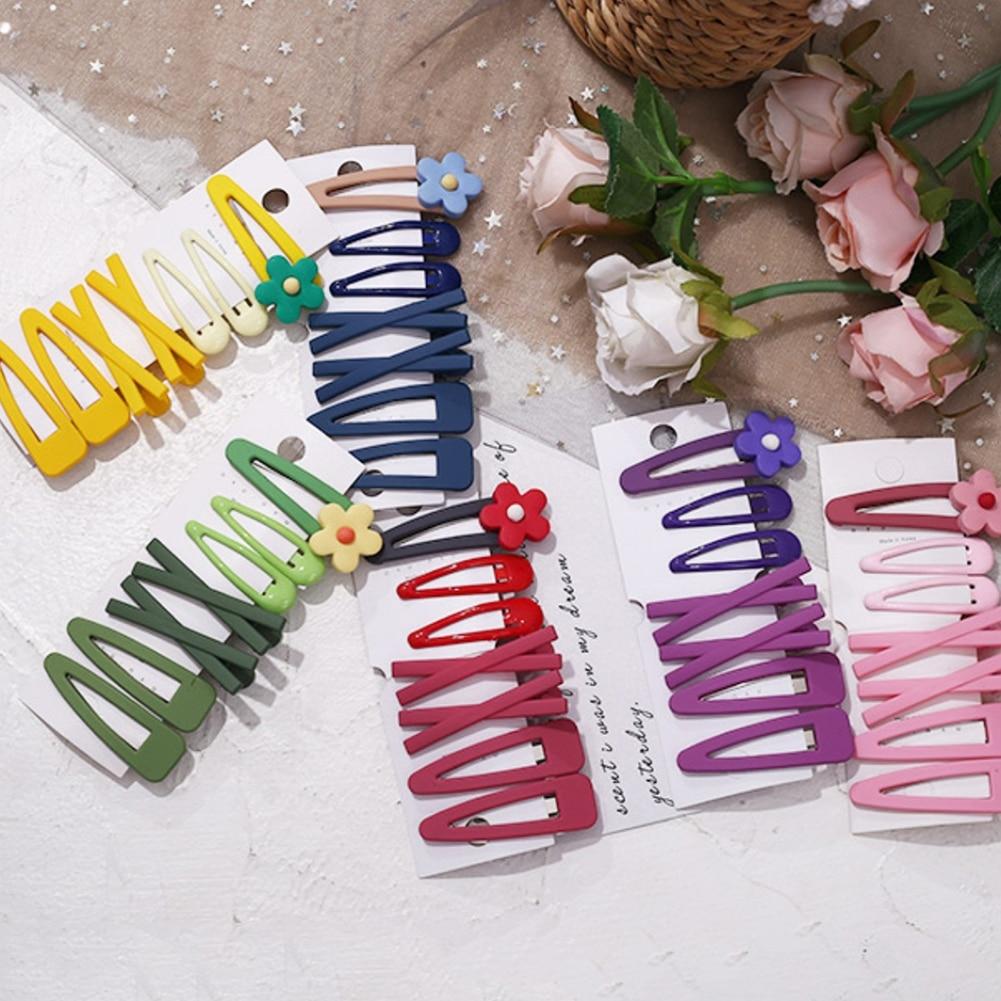 7Pcs/Set Candy Color Flower Hairpins BB Hair Clip Hairpin Girls Yellow Blue Barrettes DIY Hair Headwear Hot Accessories Pink