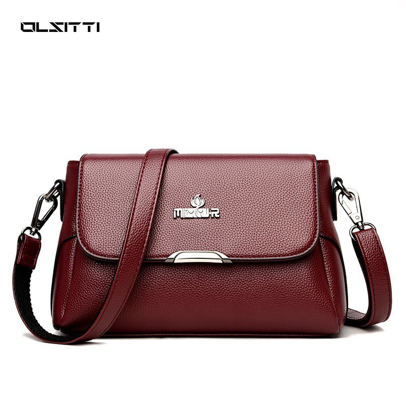OLSITTI Fashion Casual Large Capacity PU Leather Handbags Crossbody Shoulder Bag Youth Ladies Simple