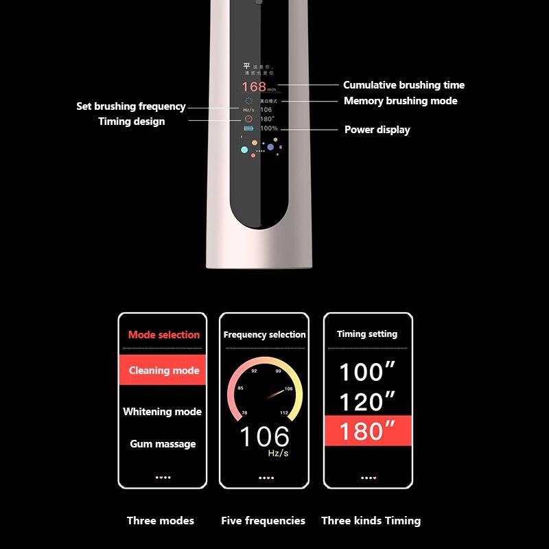 2021Nieuwe V2 Sonic Elektrische Tandenborstel Volwassen IPX7 Usb Lader Houder Kleur Screen Xiomi Tandenborstel Snelle Lading Met enlarge
